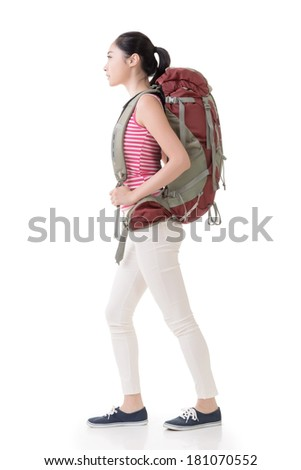 Young Asian backpacker, side view full length portrait isolated on white. - stock photo