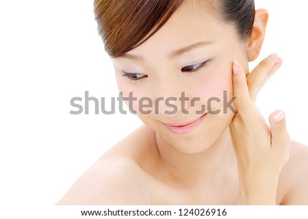 young asian beautiful woman - stock photo