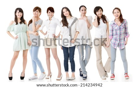 Young asian beautiful women, full length portrait isolated on the white background. - stock photo