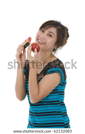 young asian beauty with water melon and apple, isolated on white background - stock photo