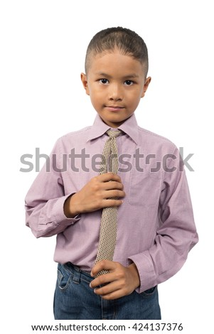 Young Asian boy in business suit