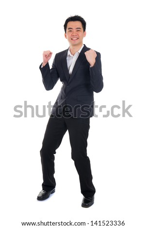 young asian business man celebrating success - stock photo