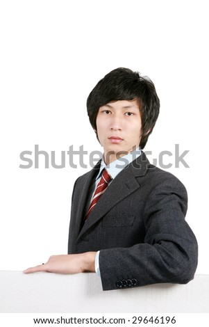 young asian business man holding with white board