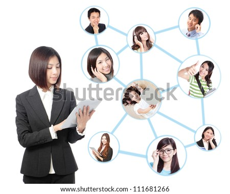 Young asian business woman in social network. woman looks to the tablet computer isolated on white background. Social group - stock photo