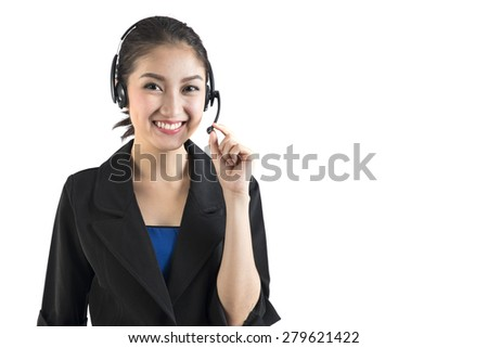 young asian business woman or telephone operator with headset isolated on white background - stock photo