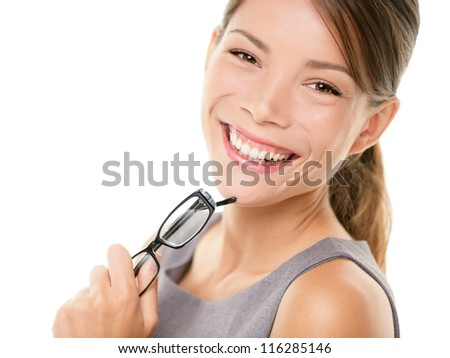 Young asian business woman portrait. Young professional smiling looking at camera holding eyewear glasses. Young mixed race Asian Chinese / Caucasian businesswoman isolated on white background - stock photo