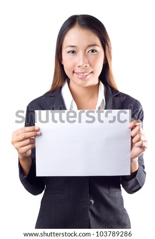 Young asian business woman  presenting a blank paper on white background