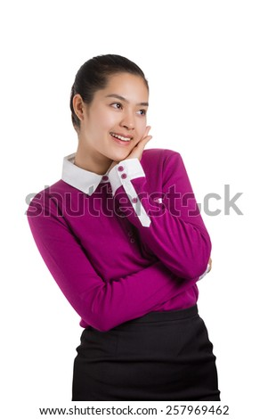 Young Asian business woman thinking with smiley face isolated on white background. - stock photo