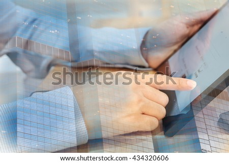 young asian businessman point finger on computer tablet, business communication concept