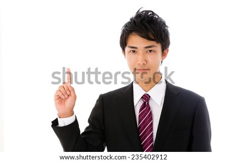 young asian businessman showing isolated on white background