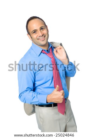 Young Asian businessman with thumb up gesture and relaxed pose