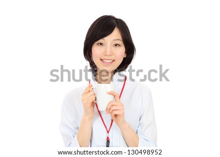 Young Asian businesswoman to rest in white background - stock photo