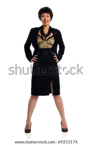 Young Asian businesswoman with hands on hips isolated over white background - stock photo