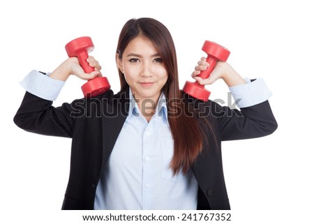 Young Asian businesswoman with red dumbbells  isolated on white background - stock photo