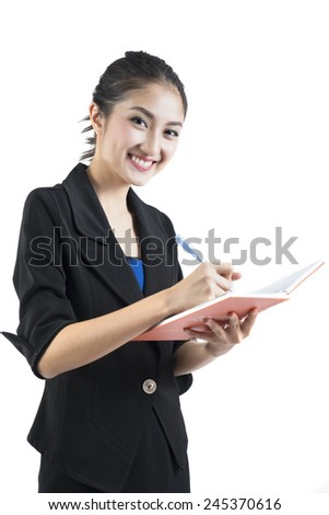 Young Asian businesswoman working with document isolated on white background