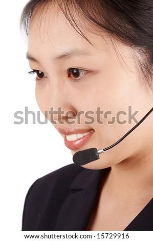young asian call center operator. - stock photo
