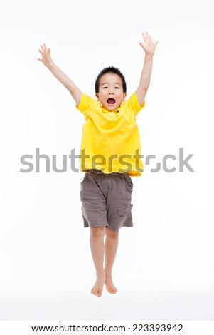 Young Asian child hands up isolated on white. - stock photo