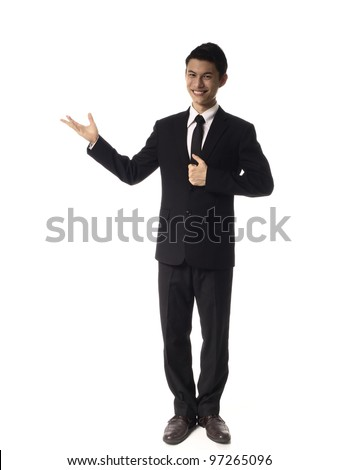 Young Asian Corporate Man presenting over white background
