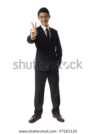 Young Asian Corporate Man two fingers over white background