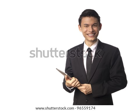 Young Asian Corporate Man with Tablet PC over White Background - stock photo