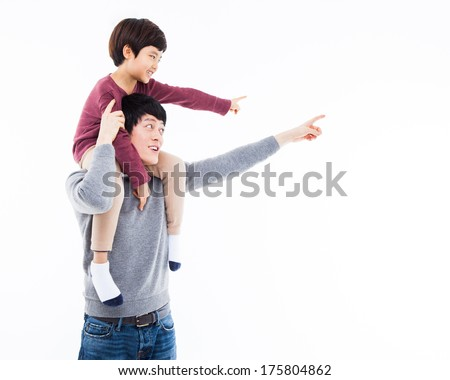 Young Asian father and little son indecated something isolated on white background.  - stock photo