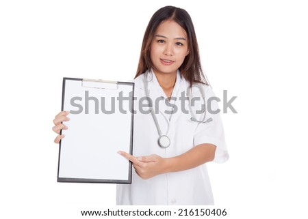 Young Asian female doctor point to a blank clipboard  isolated on white background