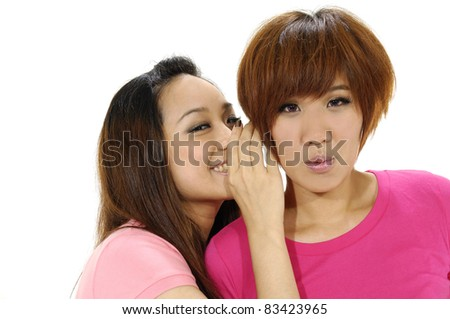young Asian female having fun together. - stock photo