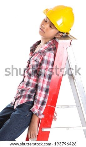 Young Asian girl sleeping on a ladder. Concept Image of a sleeping on a job.