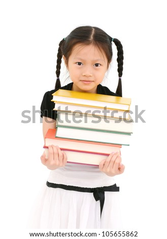 Young asian girl with books, isolated on white