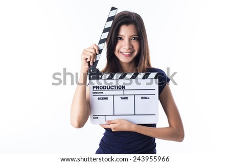 young asian girl with director style - stock photo