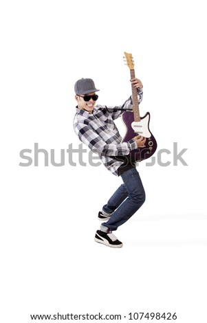 Young asian guitarist playing guitar. shot in studio isolated on white - stock photo