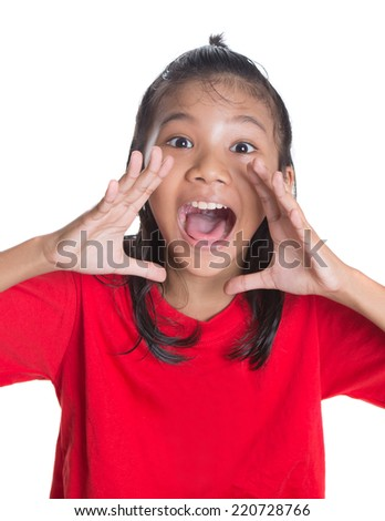 Young Asian Malay girl with shouting expression over white background