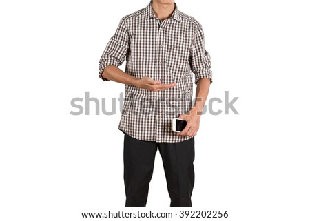 Young asian man holding mobile and present for showing your text or product isolated on white background - stock photo