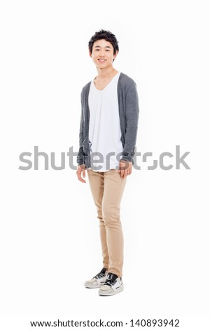 Young Asian man isolated on white background. - stock photo