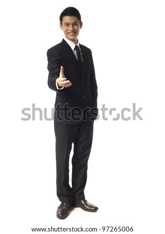 Young Asian Man offering handshake over white background