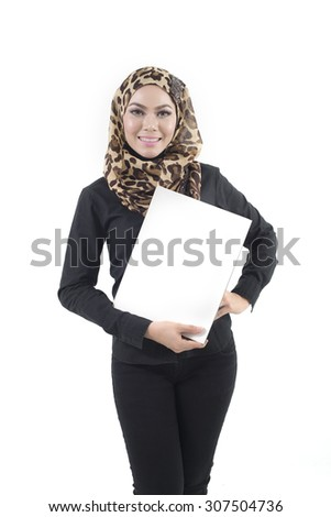 Young asian muslim  business woman isolated on white background