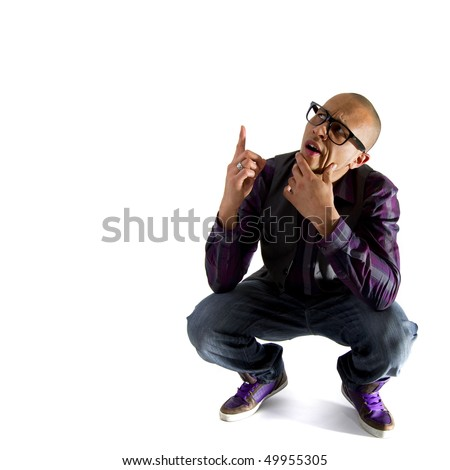 Young asian nerd styled model looking funny over white background.
