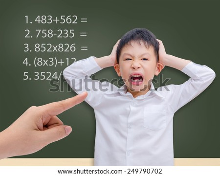 Young Asian student getting crazy with maths calculation studying in front of chalkboard  - stock photo