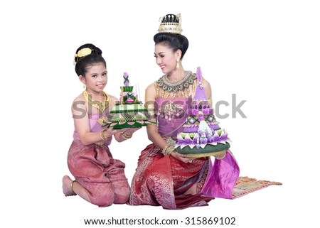 Young Asian woman and children wearing traditional Thailand. Going to the festival with isolated on white background, identity culture of thailand,Loy Kratong Festival