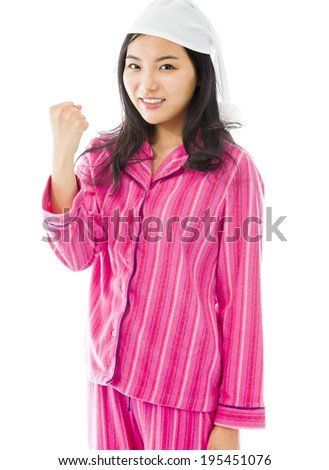 Young Asian woman celebrating success - stock photo