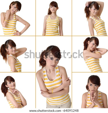 Young Asian woman, collection of beauty of fitness over white background. - stock photo