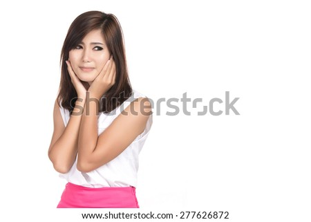 Young Asian woman covering with hands her ears with blank copyspace area for text or slogan,Portrait of beautiful Asian woman,Thai girl,Negative emotion facial expression,isolated on white background - stock photo