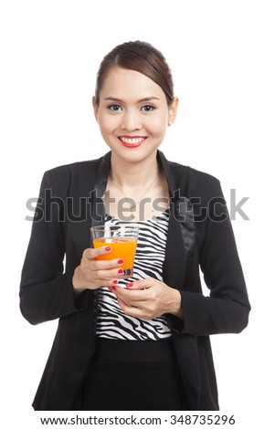 Young Asian woman drink orange juice  isolated on white background