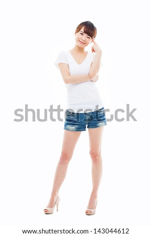 Young Asian woman full shot isolated on white background. - stock photo