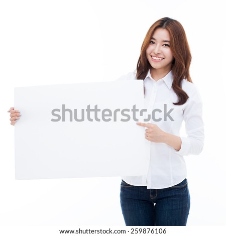 Young Asian woman holding a white borad isolated on white background. - stock photo