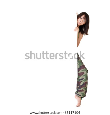 Young Asian woman holding blank billboard over white background. - stock photo