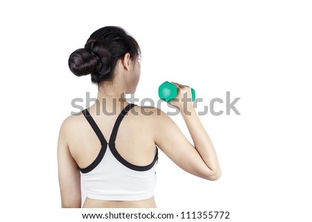 Young asian woman lifting a dumbbells