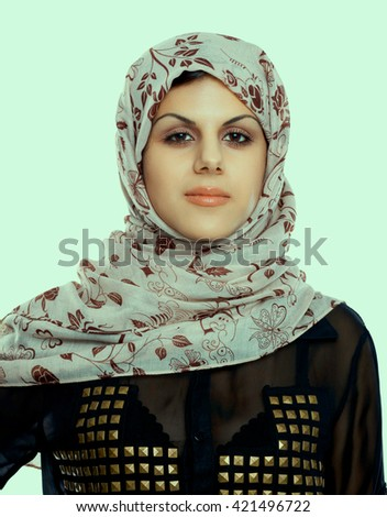 Young asian woman portrait wearing a red head scarf  - stock photo