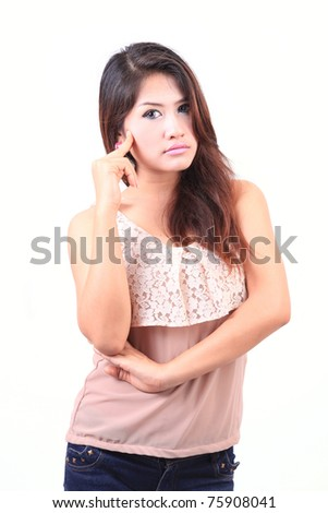 Young Asian woman thinking - stock photo