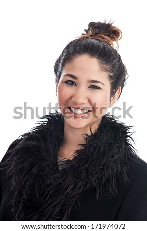 Young Asian woman with hair in a messy bun isolated on a white background - stock photo